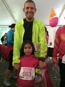 en Ironman og hans datter løb de 5 km sammen